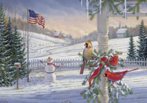 Countryside Cardinals Patriotic Holiday Cards